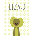 cute lizard cartoon poster vector image vector image
