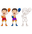 doodle character for boxer vector image vector image