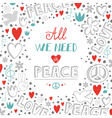 doodle white love and peace theme background with vector image vector image