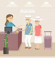 elderly tourists at hotel reception vector image