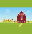 farm countryside landscape with ranch barn vector image
