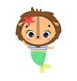 flat cute cartoon lion mermaid vector image
