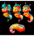 Four bright sea creatures male and female vector image vector image