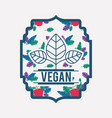frame with leafs and apple vegan food vector image
