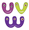 Funny Toothy Monster Alphabet from V to W vector image