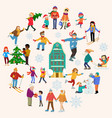 group people relax winter sport christmas vector image vector image