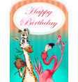 happy birthday card with funny animals vector image vector image