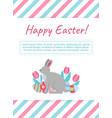 happy easter card template with bunny flowers and vector image vector image
