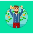 Happy man with flying money vector image vector image