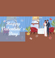 happy valentines day card with groom and bride vector image