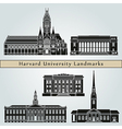 Harvard University landmarks and monuments vector image