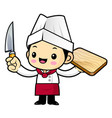 head cook character is holding a knives and a vector image vector image