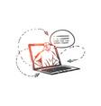 helpline operator hotline concept sketch hand vector image