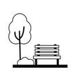 landscape bench tree park nature vector image vector image