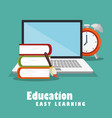 laptop with education easy e-learning icons vector image