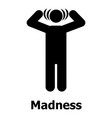 madness icon simple style vector image