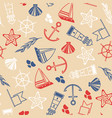 maritime hand drawn seamless pattern vector image