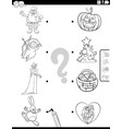 match holiday characters and symbols coloring vector image