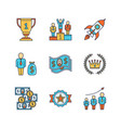 minimal lineart flat business iconset winners vector image vector image