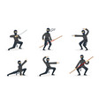 ninja in black clothes and mask set vector image vector image