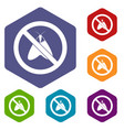 no moth sign icons set vector image vector image