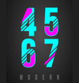 number font modern design set of numbers 4 5 6 vector image vector image