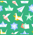 origami seamless pattern with flat icons paper vector image vector image