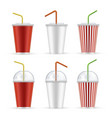 plastic cup for soda water realistic set vector image
