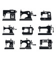 quality sew machine icon set simple style vector image