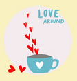 red hearts vapor from the coffee cup on white and vector image vector image