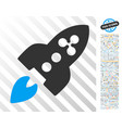ripple rocket flat icon with bonus vector image vector image