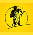 rugby players action cartoon sport graphic vector image