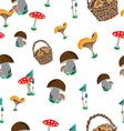 seamless pattern of wild mushroom vector image vector image