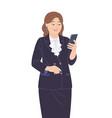 senior business woman in dark suit vector image
