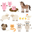 set different farm animals vector image vector image