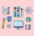 set education school utensils icons vector image vector image