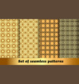 set golden geometric seamless patterns vector image