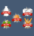 set labels for allergen free products vector image