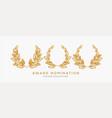 set of 3d realistic gold laurel wreath winner vector image