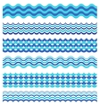 Set of sea waves borders isolated on white vector image vector image
