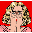 Shocked Woman Closes Eyes with Her Hands Pop Art vector image vector image