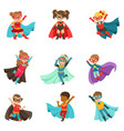 super kids set boys and girls in superhero vector image vector image
