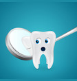 Tooth saw his crack through the mirror vector image vector image