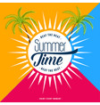trendy summer time poster design background vector image vector image
