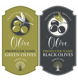 two labels for green and black olives vector image