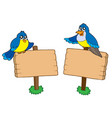 two wooden signs with birds vector image vector image