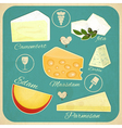 vintage set cheese vector image vector image