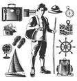 Vintage Wanderlust Icon Set vector image