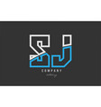 white blue alphabet letter sj s j logo icon design vector image vector image