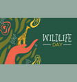 wildlife day african art card with wild giraffe vector image vector image